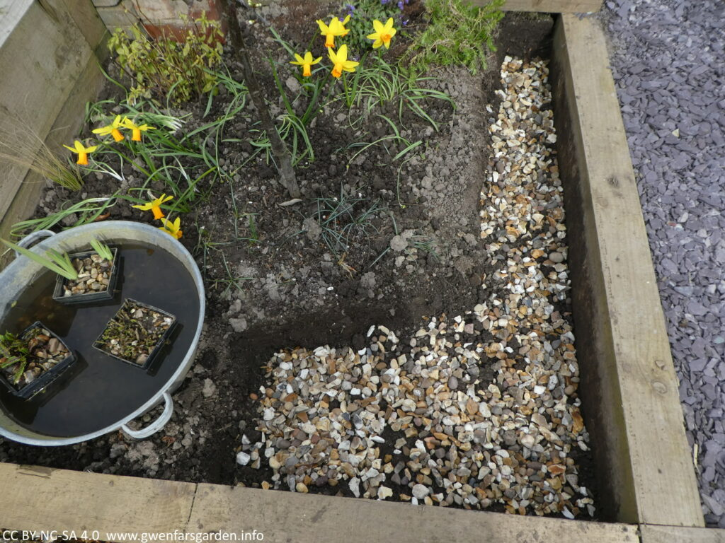 The same space, but a kind of large backwards L dug out with smaller pebbles and stones at the bottom for drainage.
