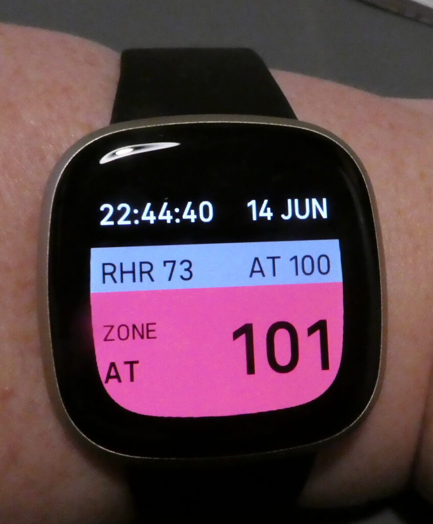 This is the HRPacing app again only this time the coloured part is red (looks more pink in the photo) with: Zone AT on the left, and the numbers: 101 on the right. This is showing me that I've gone over my anaerobic threshold and that I should now rest for a while.