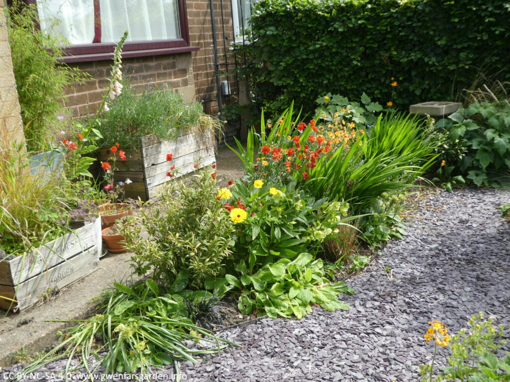 An overview of a border with bright oranges, reds and yellows, and a mix of foliage. There are also some wooden planters and terracotta pots, plus a small birdbath towards the top right.