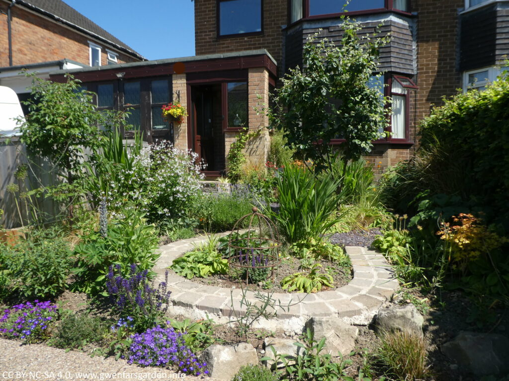 An overview of part of the front garden from the right side of the treet. There is a mix of planting including two young trees, a horse-shoe shaped paved path, more plants and the house to the rear.